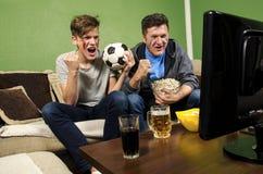 Hållande ögonen på fotboll för fader och för son tillsammans royaltyfri fotografi