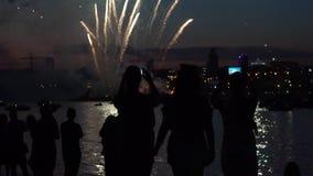 Hållande ögonen på fyrverkerier för en grupp människor på natten vid floden långsam rörelse HD arkivfilmer