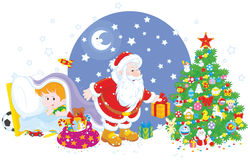 Hållande ögonen på jultomten för litet barn Royaltyfri Foto