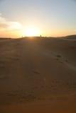 Hållande ögonen på solnedgång för grupp människor i öken Royaltyfri Fotografi