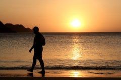 Hållande ögonen på solnedgång för man royaltyfri fotografi