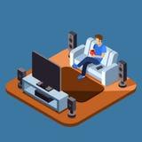 Hållande ögonen på television för man på soffan Plant isometriskt begrepp för vektor vektor illustrationer