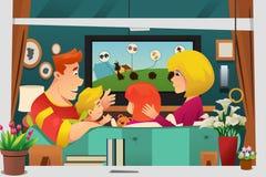 Hållande ögonen på TV för familj hemma vektor illustrationer