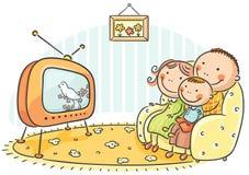 Hållande ögonen på TV för familj tillsammans stock illustrationer