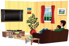 Hållande ögonen på tv för par i livingroom Royaltyfri Bild