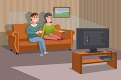 Hållande ögonen på TV för stor lycklig familj på soffan man för kaffekopp Hållande ögonen på TV-serie för afton Inre av rummet me stock illustrationer