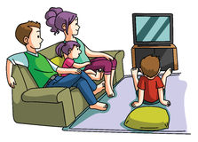 Hållande ögonen på tvtid för familj stock illustrationer