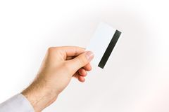 Hållande övre för hand en kreditkort Royaltyfri Bild
