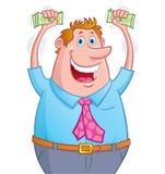 Hållande övre pengar för upphetsad man i händer Arkivbild