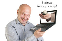 Hållande bärbar dator för affärsman på vit bakgrund. Royaltyfri Bild
