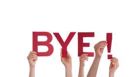Hållande Bye för folk Arkivfoton