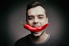 Hållande chilipeppar för man i hans tänder Rolig grabb som äter varm kryddig peppar på en grå bakgrund band för mått för äpplebeg Arkivfoton