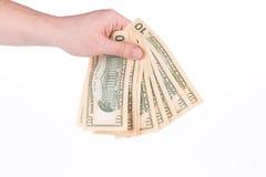 Hållande dollar-räkningar för hand Royaltyfri Fotografi