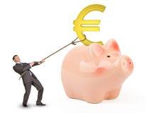 Hållande eurotecken för affärsman med repet Arkivbilder