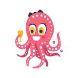 Hållande exponeringsglas för gulligt rosa kvinnligt bläckfisktecken för tecknad film, rolig illustration för vektor för havkorall Royaltyfria Bilder