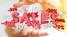 Hållande försäljningssymboler för affärsman i hans tolkning för hand 3D Arkivbild