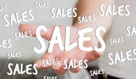 Hållande försäljningssymboler för affärsman i hans tolkning för hand 3D Royaltyfri Foto