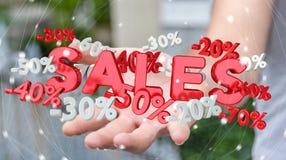 Hållande försäljningssymboler för affärsman i hans tolkning för hand 3D Royaltyfri Bild