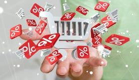 Hållande försäljningssymboler för affärsman i hans tolkning för hand 3D Royaltyfri Fotografi