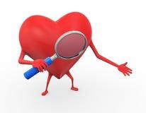 hållande förstoringsapparatillustration för hjärta 3d Royaltyfria Bilder