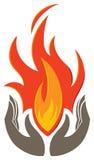 Hållande flammalogo Arkivfoto