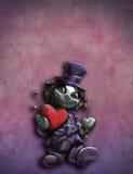 Hållande flott röd hjärta för rolig docka vektor illustrationer