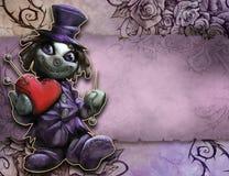 Hållande flott röd hjärta för rolig docka royaltyfri illustrationer