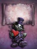 Hållande flott röd hjärta för rolig docka stock illustrationer