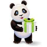Hållande gåvaask för panda Illustration för vektorgemkonst med enkla lutningar Royaltyfria Bilder