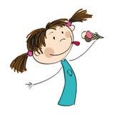 Hållande glass för liten flicka - original- hand dragen illustration royaltyfri illustrationer