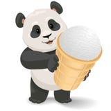 Hållande glass för panda Illustration för vektorgemkonst med enkla lutningar Royaltyfria Foton