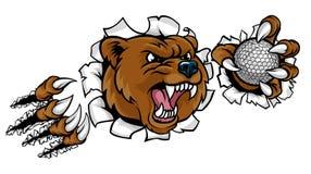 Hållande golfboll för björn som bryter bakgrund Arkivbilder