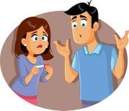 Hållande graviditetstest för ledsna besvikna par vektor illustrationer