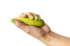 Hållande gurka för hand Royaltyfria Foton