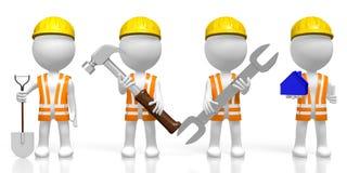 hållande hjälpmedel för arbetare 3D - hammare, skyffel, skiftnyckel, husform stock illustrationer