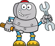Hållande hjälpmedel för tecknad filmrobot vektor illustrationer