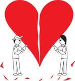 Hållande hjärta för tecknad filmpar tillsammans Royaltyfri Foto