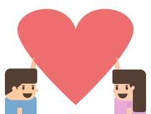 Hållande hjärtapapper för pojke och för flicka Arkivbild