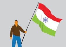 Hållande indisk flaggaillustration för man Royaltyfri Bild