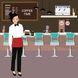Hållande kaffe för kaféservitris stock illustrationer