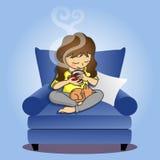 Hållande kaffekopp för flicka med katten Stock Illustrationer