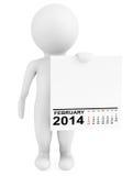 Hållande kalender Februari 2014 för tecken Arkivfoton