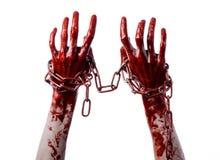 Hållande kedja för blodig hand, blodig kedja, halloween tema, vit bakgrund som isoleras Royaltyfri Foto