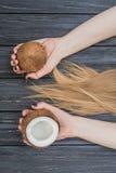 Hållande kokosnöt i händer Royaltyfria Bilder