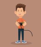 Hållande kontroll för spelarevideospel Arkivfoto