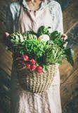 Hållande korg för kvinnlig bonde av nya trädgårds- grönsaker och gräsplaner arkivbilder