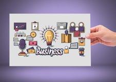 Hållande kort för hand med affärssymbolsdiagram royaltyfri illustrationer