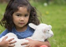 Hållande lamm för flicka royaltyfri foto
