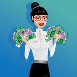 Hållande lott för affärskvinna av pengar Royaltyfri Bild