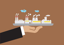 Hållande magasin för hand med industribyggnadvektorillustrationen stock illustrationer
